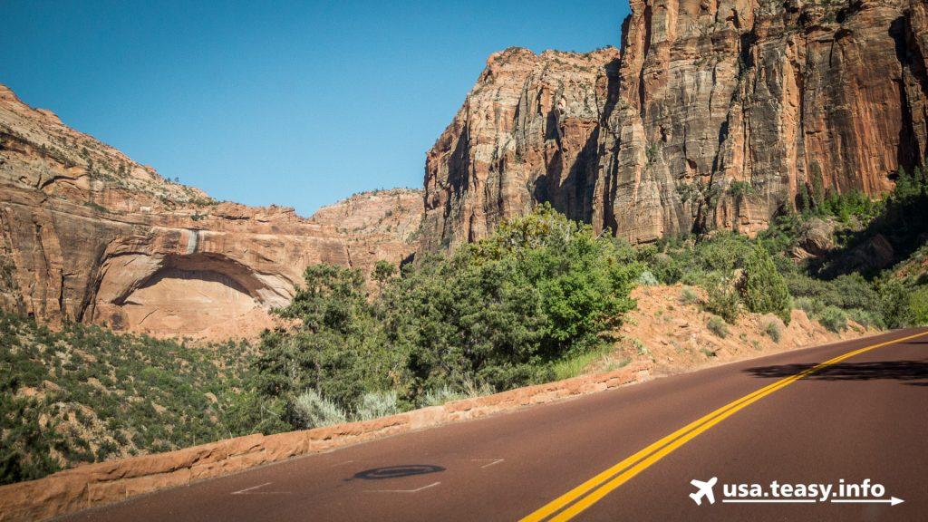 Links: The Great Arch. Genau oberhalb endet der Canyon Overlook.